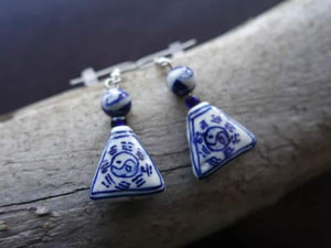 Elegant Yin Yang Porcelain Ceramic Bead Earrings | White and Blue Dangle with Silver Accents