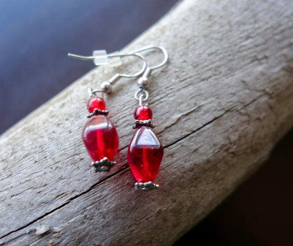 Elegant Glass Bead Earrings | Red Dangle with Silver Accents