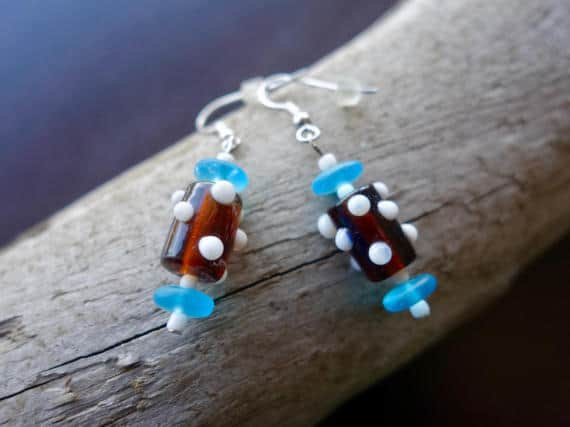 Elegant Glass Lampwork Bead Earrings | Red White and Blue Dangle with Silver Accents