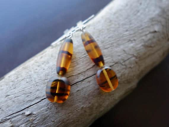 Elegant Glass Bead Earrings | Brown Dangle with Silver Accents