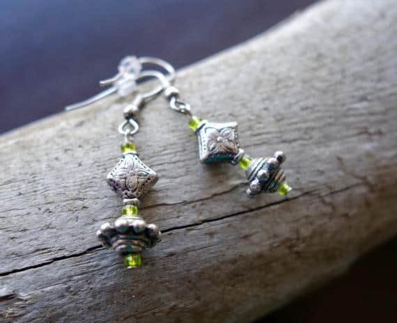 Elegant Glass Bead Earrings | Green Dangle with Silver Accents