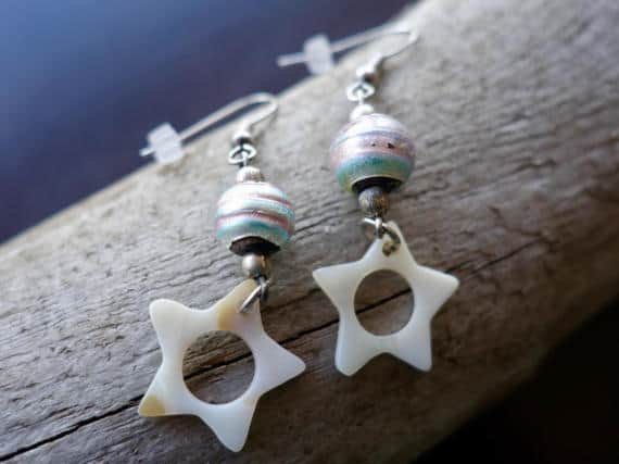 Star Glass Bead Earrings | Pastel Dangle with Silver Accents