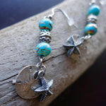 Sand Dollar and Starfish Bead Earrings | Blue and Silver Dangles