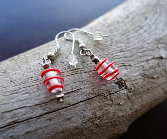 Elegant Glass Bead Earrings | Red Striped Dangle with Silver Star Accents