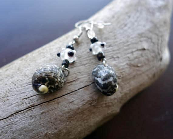 Black Seashell and Glass Lampwork Bead Earrings | Black and White Dangle | Beach Hawaii Tropical