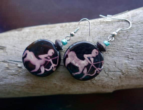 Sagittarius Bead Earrings | Green and Wood bead, Dangle with Silver Accents | Zodiac, Astrological Sign
