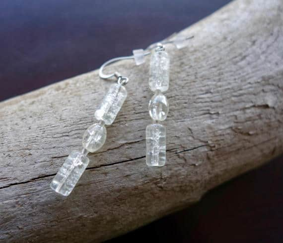 Elegant Glass Bead Earrings | Clear Dangle with Silver Accents