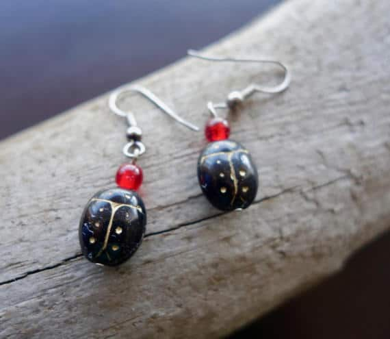 Lady Bug Glass Bead Earrings | Black Dangle with Red and Silver Accents
