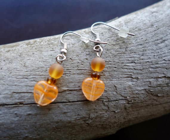Elegant Glass Bead Earrings | Orange Hearts Dangle with Silver Accents