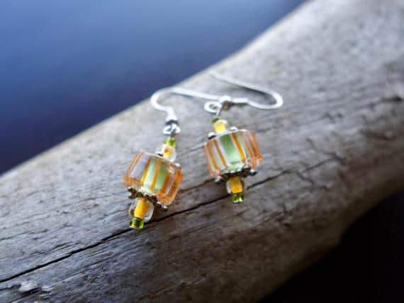 Elegant Glass Bead Earrings | Yellow Green Dangle with Silver Accents