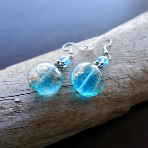 Elegant Glass Bead Earrings | Blue Dangle with Silver Accents