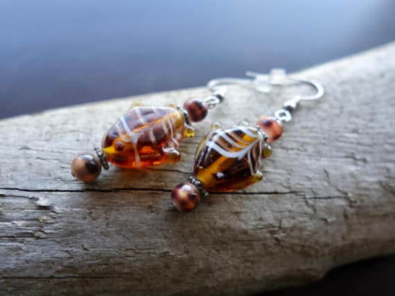 Fish Glass Bead Earrings | Brown Dangle with Silver Accents