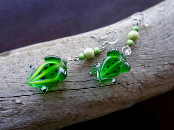 Frog Glass Lampwork Bead Earrings | Green Dangle with Silver Accents