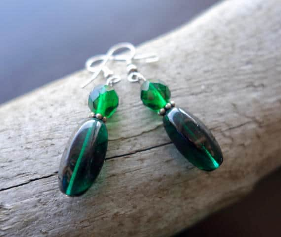 Elegant Glass Lampwork Bead Earrings | Dark Green Dangle with Silver Accents