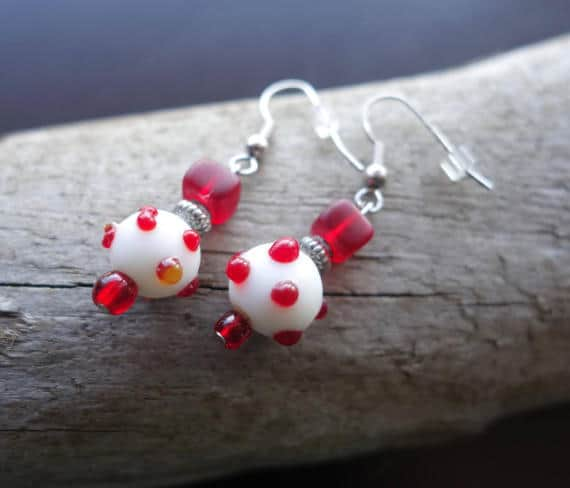 Red Glass Lampwork Bead Earrings | Polka Dot Dangle with Silver Accents