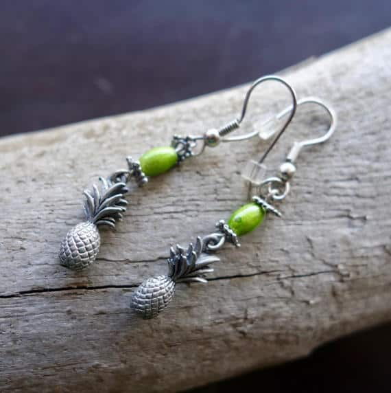 Pineapple Bead Earrings | Green and Silver Dangles | Hawaiian Stylin'