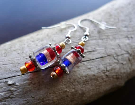 Red and Blue Glass Lampwork Bead Earrings | Dangle