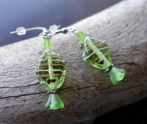 Fish Glass Bead Earrings | Green Dangle with Silver Accents