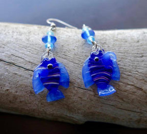 Fish Glass Bead Earrings | Blue Dangle with Silver Accents