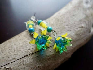 Sunflower Glass Lampwork Bead Earrings | Blue Green and Yellow Flower Dangle with Silver Accents