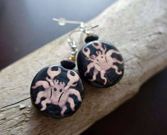 Cancer Bead Earrings | Wood bead, Dangle with Silver Accents | Zodiac, Astrological Sign