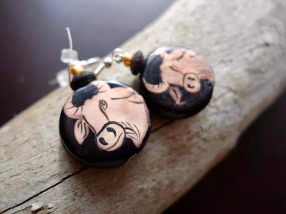 Taurus Bead Earrings | Wood bead, Dangle with Silver Accents | Zodiac, Astrological Sign
