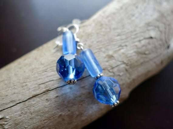 Glass Bead Earrings | Blue Dangle with Silver Accents