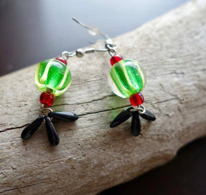 Watermelon Seed Glass Bead Earrings | Green Black and Red Dangle with Silver Accents | Summer Ready
