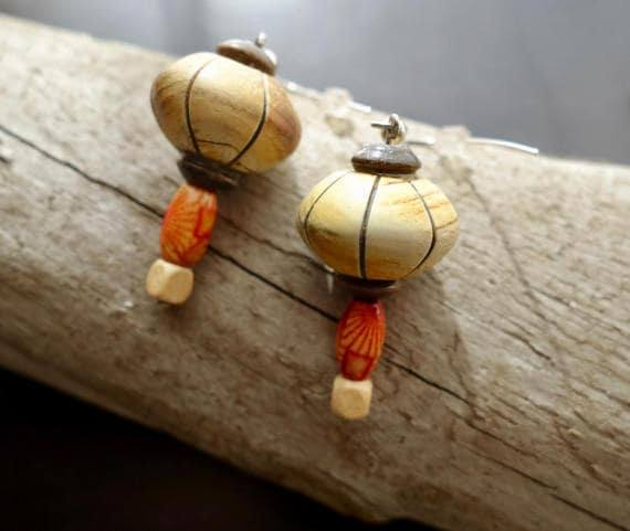 Wood Bead Earrings | Silver Accents