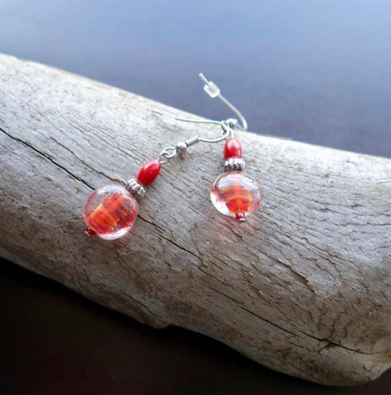 Elegant Glass Lampwork Bead Earrings | Red and Orange Dangle with Silver Accents