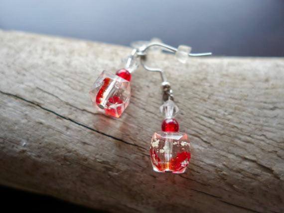 Elegant Glass Lampwork Bead Earrings | Red Dangle with Silver Accents