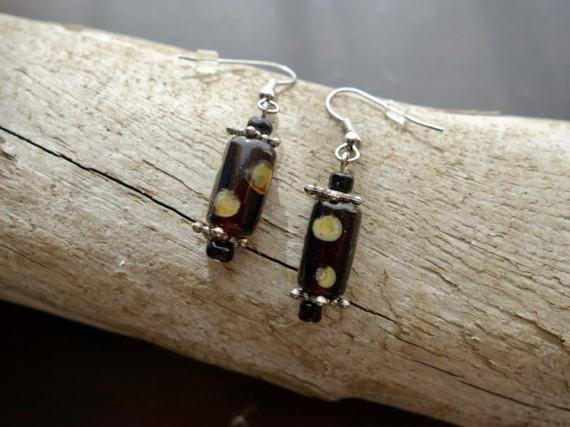 Elegant Glass Lampwork Bead Earrings | Brown and Cream Polka Dot Dangle with Silver Accents