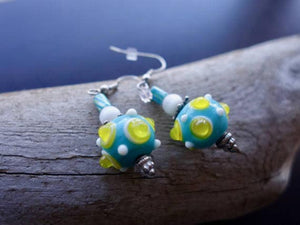 Glass Lampwork Bead Earrings | Blue and Yellow Dangle with Silver Accents