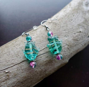 Fish Glass Bead Earrings | Green and Pink Dangle with Silver Accents