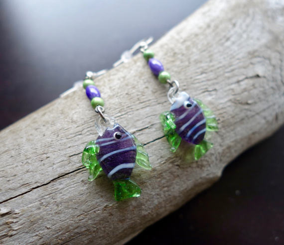 Fish Glass Bead Earrings | Purple and Green Dangle with Silver Accents