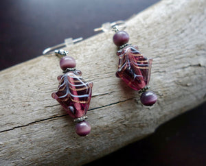 Fish Glass Bead Earrings | Red Purple Dangle with Silver Accents