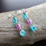 Elegant Glass Bead Earrings | Clear Blue and Pink Dangle with Silver Accents