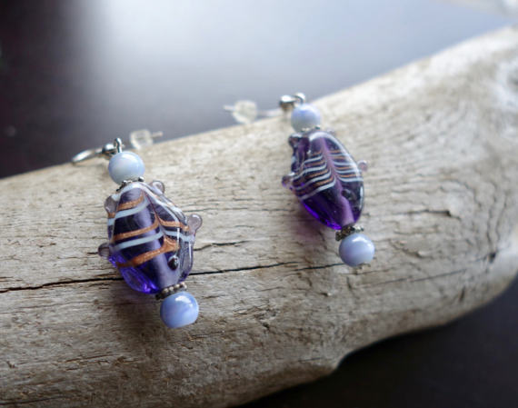 Fish Glass Bead Earrings | Purple Dangle with Silver Accents