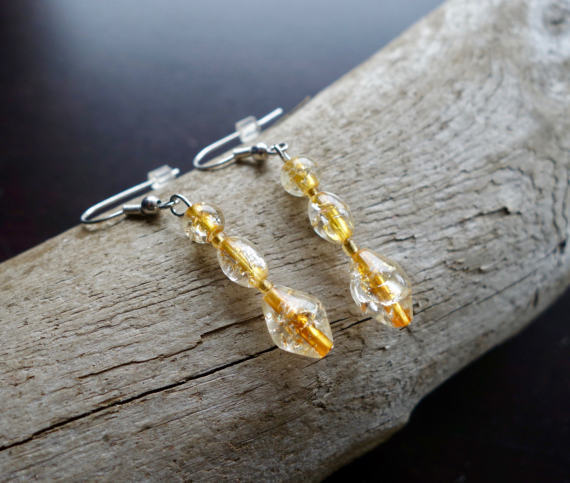 Elegant Glass Bead Earrings | Amber Gold Dangle with Silver Accents