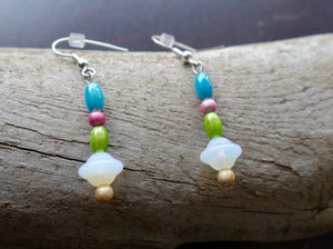 Glass Pastel Bead Earrings | Blue Pink Green and White Dangle with Silver Accents