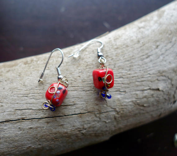 Red Glass Lampwork Bead Earrings | Dangle