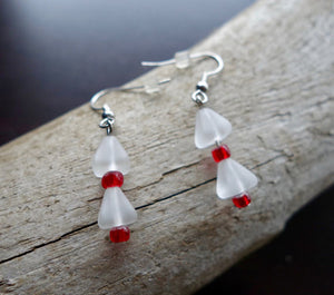 Glass Bead Earrings | White and Red Dangle Bell with Silver Accents