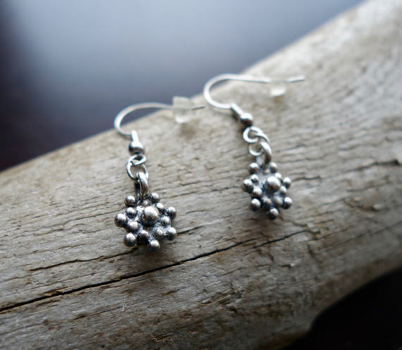 Silver Star Bead Dangle Earrings