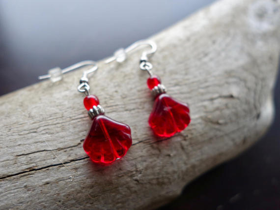 Glass Bead Earrings | Red Fan Dangle Bell with Silver Accents
