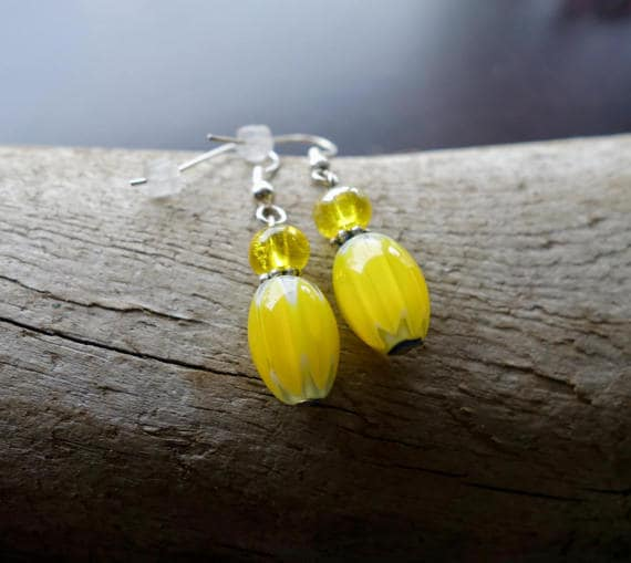 Elegant Glass Bead Earrings | Yellow Dangle with Silver Accents