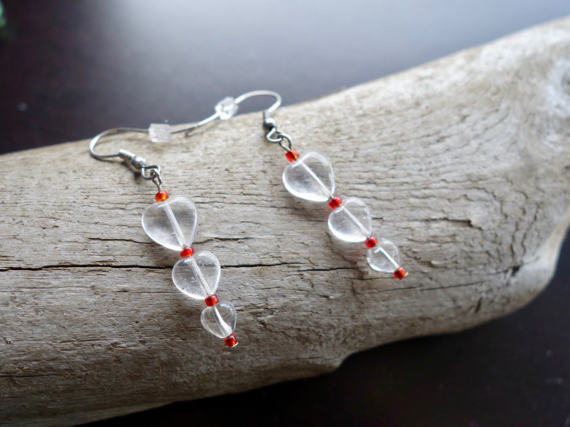 Elegant Glass Bead Earrings | Clear and Red Heart Dangle with Silver Accents
