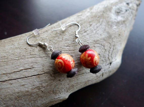 Red Wood Bead Earrings | Silver Accents