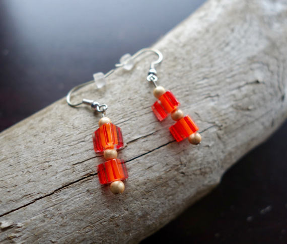 Glass Lampwork Bead Earrings | Red and Orange Dangle with Silver Accents