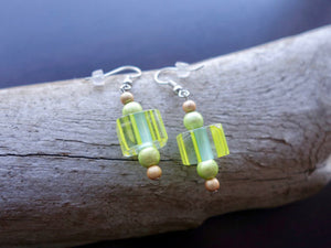 Elegant Lampwork Glass Bead Earrings | Yellow Dangle with Silver Accents