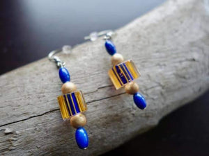 Blue and Orange Glass Lampwork Bead Earrings | Dangle with silver accents